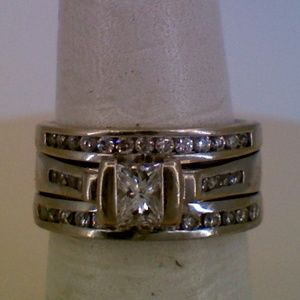 14K White Gold Diamond Wedding Ring Set Fused .98T